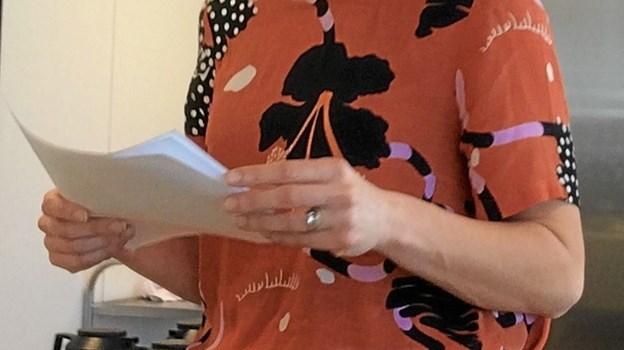 """Præst Kathrine Krog fortalte om hvorfor hun valgte præstegerningen og senere fortalte hun om """"når to bliver til en"""". Foto: Privat Privat"""