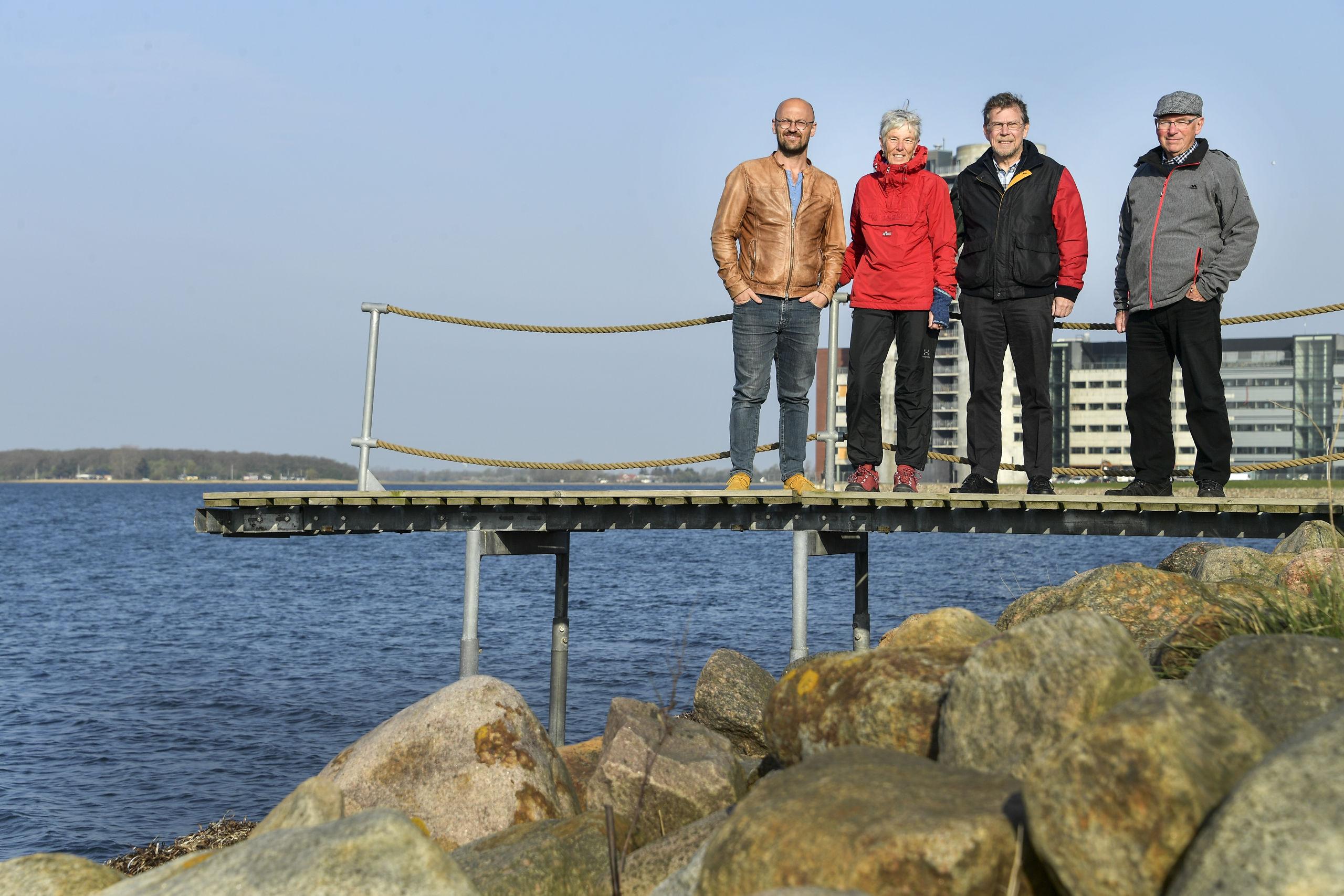 Rasmus Holmgård, Anne-Lise Mortensen, Jan Ole Mortensen og Keld Poulsen er gået ind i kampen for at sikre, at der igen er en badebro på Solsiden. Foto: Michael Koch