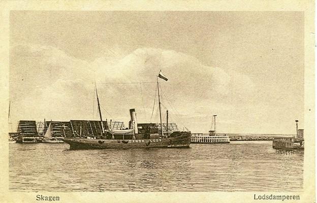 """Lodsdamperen """"Skagerak"""" blev bygget på Orlogsværftet og sat ind i tjenesten med base i Skagen i 1899.Foto: Lokalhistorisk Arkiv Skagen"""
