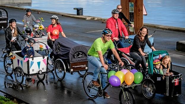 Også sidste år var der parade af de bæredygtige køretøjer gennem byen. Foto: Cyklistforbundet