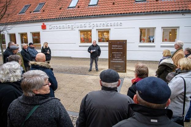 Foto: Peter Broen. Vendsyssels berømte arbejderdigter Scharnberg får mæle i Frederikshavn Poesipark Peter Broen