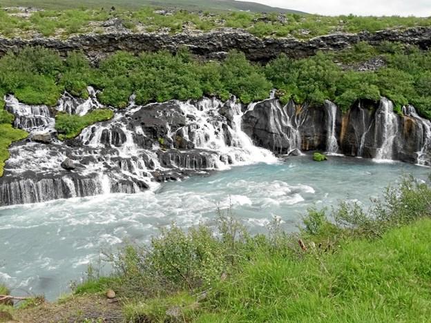 Fra Rhaunfossar vandfaldet i den vestlige del af Island.Privatfoto