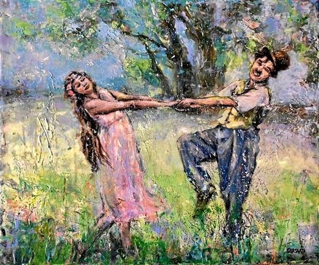Julia Gurskaja og Chaplin, der danser med pige.