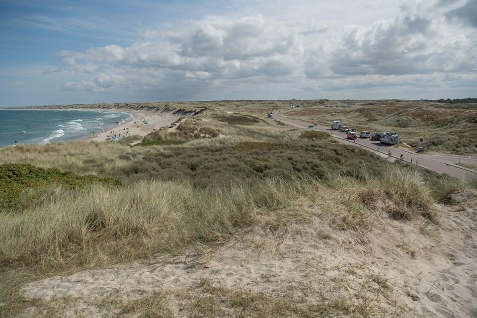 Det nye nationalparkcenter skal bygges på denne klit over landingspladsen i Vorupør.. Foto: Henrik Louis