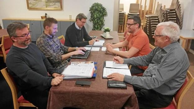 Forretningsudvalget består af (fra venstre)Jørgen Severinsen, Jesper Lindholm, Villy Mortensen, Thomas Ø. Pedersen og Per Hylander. Privatfoto privatfoto