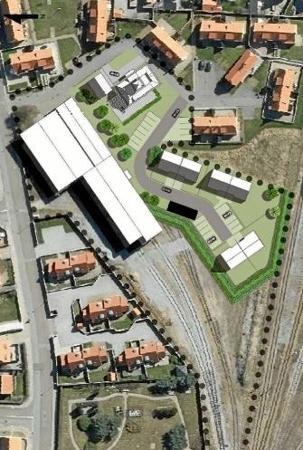 Kortet viser lokalplanområdet med den del af remisen, som Nordjyske Jernbaner fortsat vil benytte.  Markvej ses til venstre, og Plesnerbygningen er markeret øverst på kortet under den stiplede linje. Carl Aage Østergaard