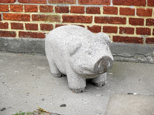 Der er store skulpturer i Skagens byrum – og også mindre som denne herlige gris, der byder velkommen ved indgangen til Slagter Jensens forretning. Kunstneren er Palle Mørk fra Brønderslev, som også er mester for den store morter ved Matas.  Foto: Lokalhistorisk Arkiv Skagen