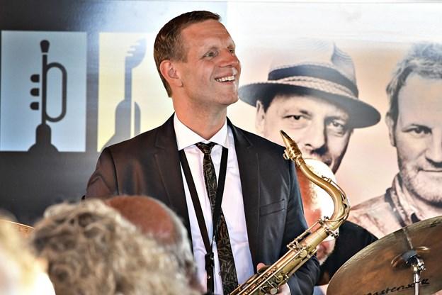 Den prisbelønnede saxofonist Jan Harbeck spillede ved releasepartyet sammen med Jazzy Days' husorkester Organic 3. Foto: Bent Bach