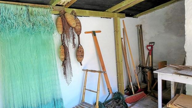 Det nyrenoverede baghus på Løkken Museum med fiskegrej og redskaber Foto: Kirsten Olsen