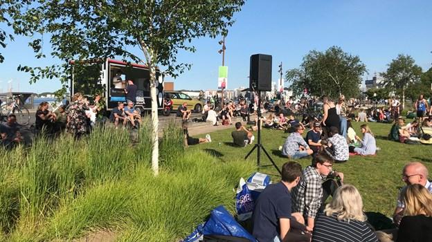 Du kan hænge ud på græsset i Jomfru Ane Parken de kommende dage - og få gratis musik serveret til. Privatfoto