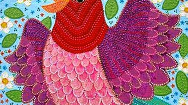 Farvestrålende malerier som dette af Maria Kjær Hanefelt Dinesen kan opleves ved den kommende udstilling i Galleri Hou. Privatfoto