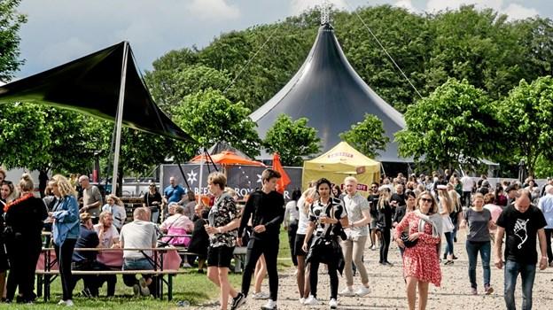 Drinx nye festivaltelt skød op som en pyramide i baggrunden - og her var der run på gin-smagningerne.. Foto: Peter Jørgensen Peter Jørgensen