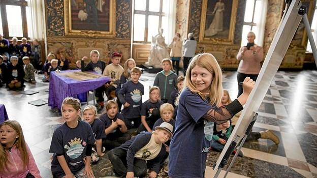 Tilsted Skoles 4. a er i finalen blandt ni skoleklasser om at blive dansk mester i historie. Arkivfoto fra sidste års konkurrence. Pressefoto