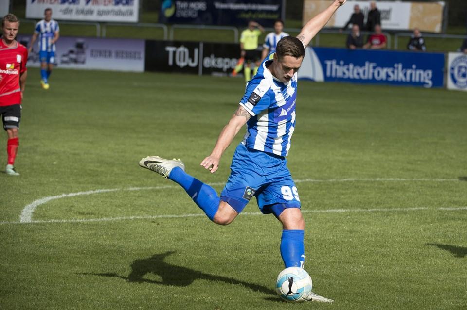 Sonny Jakobsen scorede hattrick for Thisted FC. Foto: Bo Lehm