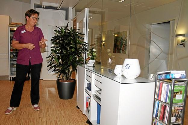 Hospicechef Birgitte Nielsen forklarer Frimurerordenens repræsentanter, hvad donationen blandt andet er anvendt til - blandt andet kaffe og spisestel.