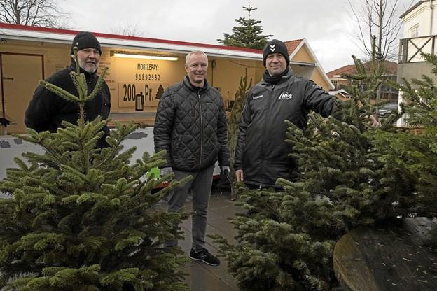 Hals forenede Sportsklubber sælger vanen tro juletræer på Torvet. Fra venstre er det Per Jørgensen, Carsten Christiansen og Thomas Jensen. Foto: Allan Mortensen
