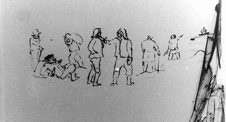 I Sæby By- og Herredsfogeds strandingsprotokol findes der en tegning der giver et sjældent tidsbillede af situationen ved strandingen af barkskibet Der Zeitgeist d. 28 oktober 1852. Øverst til højre ses skibet ligge i havstokken 1/2 mil fra land. En bjergningsjolle er tilsyneladende på vej derud. På stranden befinder sig syv - personer fiskere og bjergere – formentlig er det strandfoged Hans Christensen der er nr. 2 fra højre. Samtidig synes en af bjergerne at nyde en pibe tobak og noget drikkeligt. Kilde: Sæby By- og Herredsfogeds strandingsprotokol d. 28 oktober 1852.