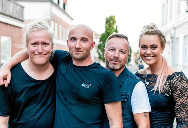 Kopibandet.dk består af fra venstre: Rasmus Visti, Kasper Pedersen, Martin von Seelen og Lærke Gregersen. Foto: privat.