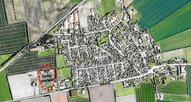 Det nye boligområde ses nederst til venstre vest for Sønderholm Skole. Foto: Karl Erik Hansen