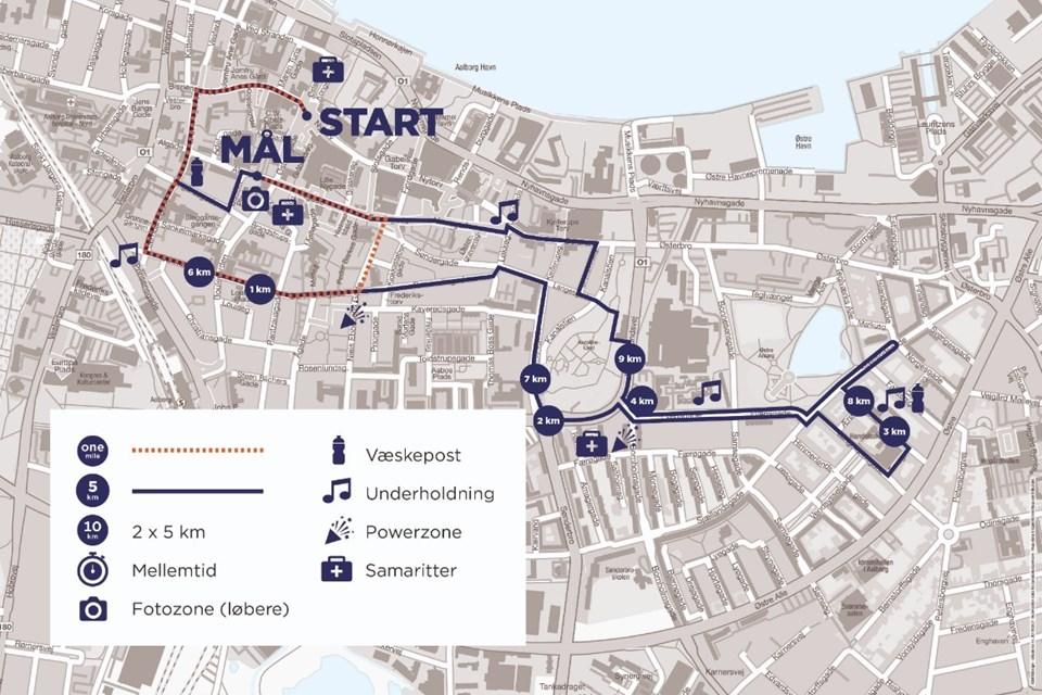 Her kan du se ruterne til årets Royal Run, der i år går gennem midtbyen. Foto: Royal Run