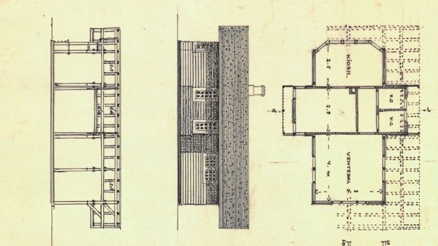 Plesner byggede gigantiske boligkomplekser i København, men gik også frisk til mere ydmyge opgaver, som f.eks. ventesalen for Skagensbanen på Grenen. LOKALHISTORISK ARKIV SKAGEN