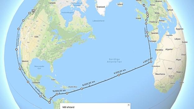 Den sandsynlige 18.500 km lange sejltur som Lingbank nu skal ud på. Turen påbegyndes efter planen i februar. Foto: Ole Iversen Ole Iversen