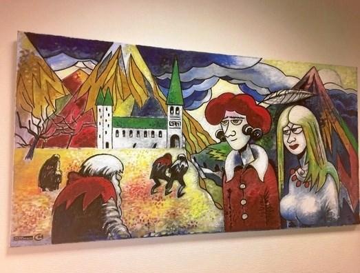 """Maleriet """"Messe i bjergene"""", som nu er officielt skænket til Hadsund Bibliotek af kunstneren Henry Barrach, alias forfatter Ole Henrik Laub. Privatfoto"""