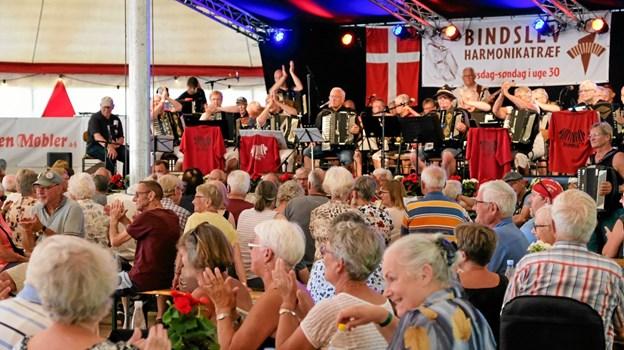 Harmonikaklubben Hoska var træffets første band, der lagde ud med glad dansemusik. Foto: Niels Helver Niels Helver