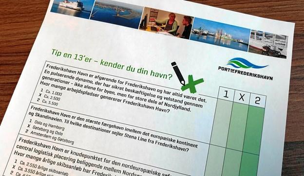 Der er udarbejdet en Tip en 13'er, hvor eleverne får lidt baggrundsviden om havnen samtidig med, at de skal svare på nogle forskellige spørgsmål om Frederikshavn Havn