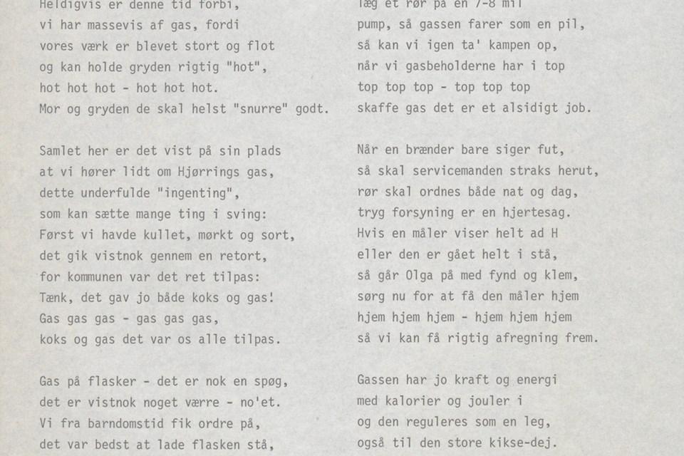 I kildepakken om gas finder du eksempelvis denne omskrivning af en julesang, vi alle kender, som er lavet i anledning af gas- og vandforsyningens 75-års jubilæum i Hjørring.