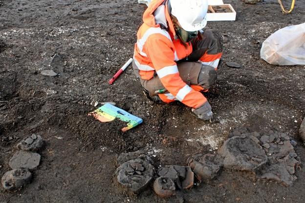 Et at de 100 fundne langhuse vækker en helt særlig interesse blandt arkæologerne. Husets køkkenområde var fyldt med 40-50 næsten intakte lerkrukker, hvilket er ret usædvanligt. Normalt ses det kun i brandtomter. Hvorfor er beboerne blot gået - og aldrig vendt hjem igen? Foto: Nordjyllands Historiske Museum