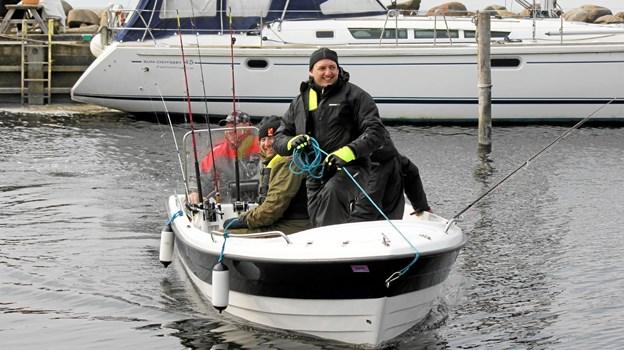 På vej ind efter 4 timers fiskeri. Flemming Dahl Jensen