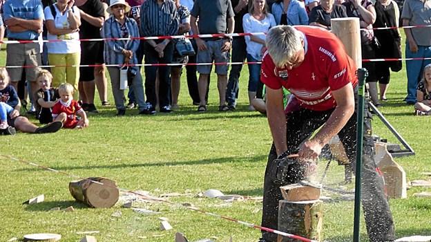 En skovhugger omdannede store træblokke til små kunstværker. Foto: Ejlif Rasmussen Ejlif Rasmussen