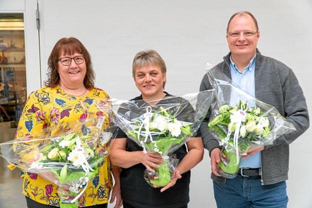De tre 25-års jubilarer hos Migatronic: Pia Davidsen, Åse Bech og Claus Hertel. Privatfoto