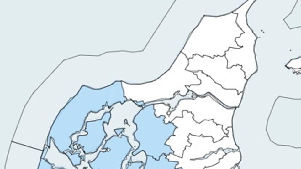Disse områder af Nordjylland kan blive ramt af hedebølge, varsler DMI. Grafik: DMI