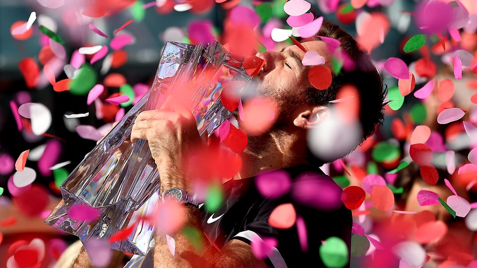 Tennisspilleren Juan Martin del Potro kunne søndag løfte armene i triumf. Foto: Scanpix/Jayne Kamin-oncea