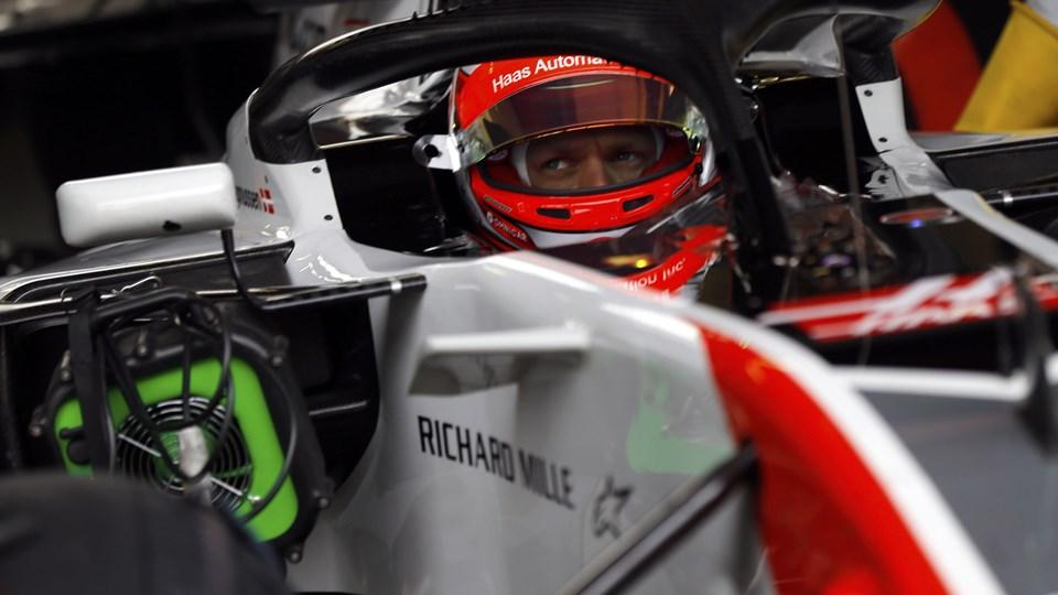 Kevin Magnussen var torsdag på banen i Barcelona og skal igen testkøre Haas-raceren i næste uge. Scanpix/Francisco Seco