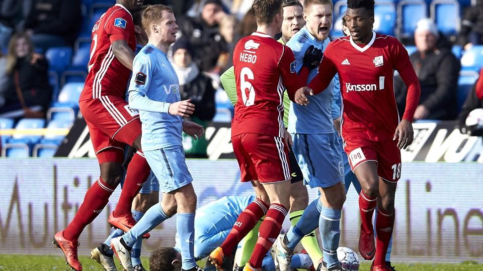 Lyngby har fortsat ti point op til redning med blot fem kampe igen i puljespillet i Alka Superligaen. Foto: Scanpix/Mikkel Berg Pedersen