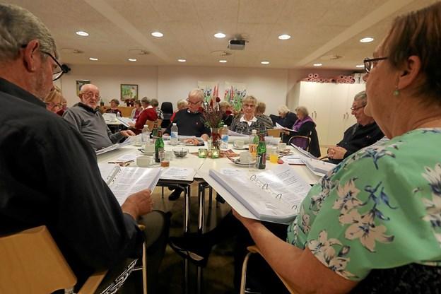 Hals Centerråd havde tirsdag inviteret til sangaften på Fjordparken. Foto: Allan Mortensen