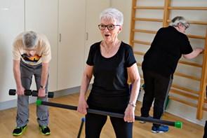 Motion og latter i Sundhedshuset