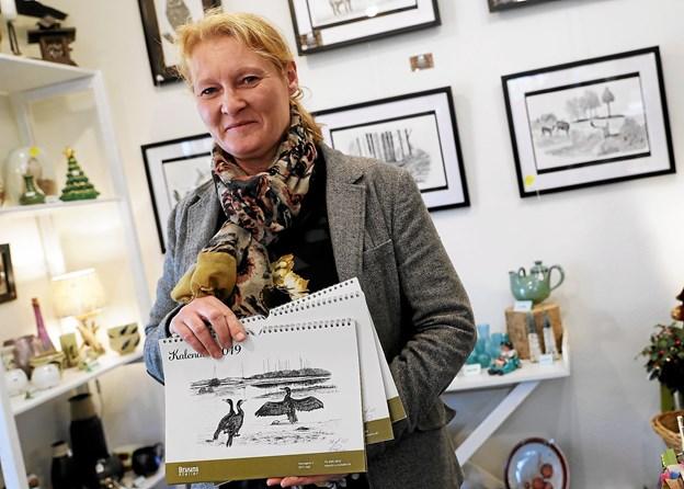 De originale tegninger til kalenderen er udstillet i Bruuns Atelier året ud. Foto: Allan Mortensen