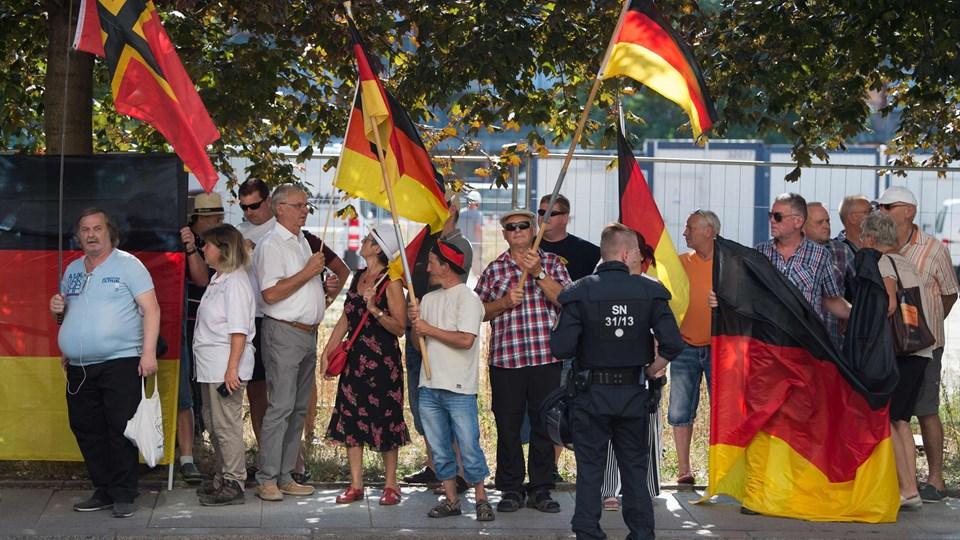 Chemnitz tiltrak sig opmærksomhed, da en større demonstration i august gik gennem byen. Det skete i protest mod et drab, der angiveligt blev begået af en asylansøger. Foto: Sebastian Kahnert/Ritzau Scanpix