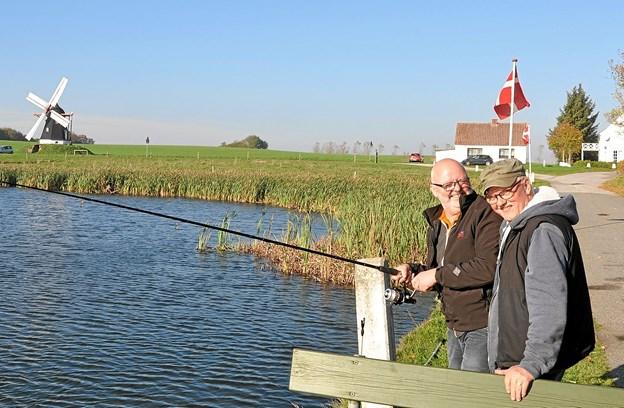 Mogens Rasmussen (med fiskestangen) og Svend Erik Nielsen nød det gode vejr, selvom det kneb med geddefangsten. Foto: Ole Torp