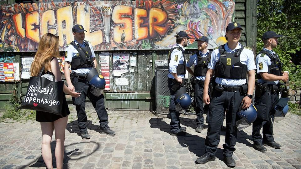 Politiet har i den seneste tid optrappet indsatsen på Christiania. Foto: Nils Meilvang/Ritzau Scanpix