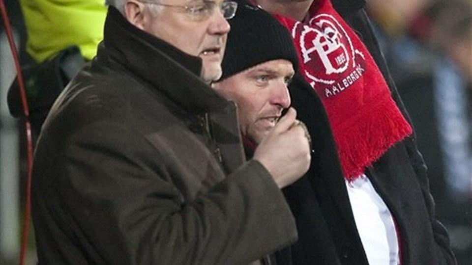 Både sportsdirektør og formand kan glæde sig over udsolgt til hjemmekampen mod Manchester City: Foto: Henrik Bo