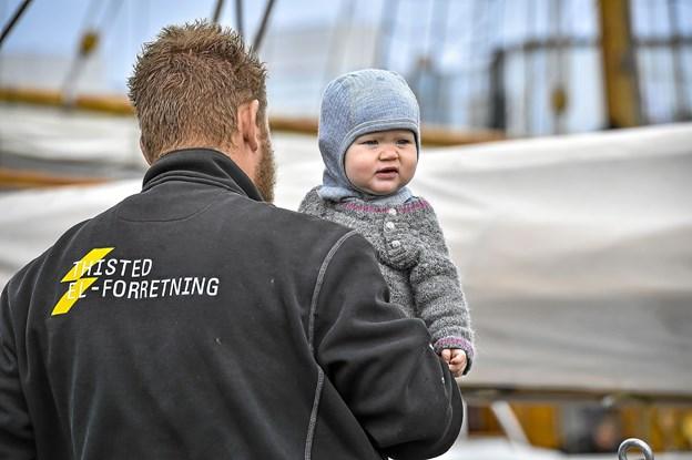 Helt unge skibsfans var der også.Foto: Ole Iversen