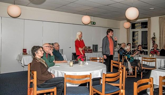 Solveig Vinter var desværre blevet syg og Benny og Ninna, som også har været en del af projektet, tog over med aftenens foredrag. Foto: Mogens Lynge Mogens Lynge
