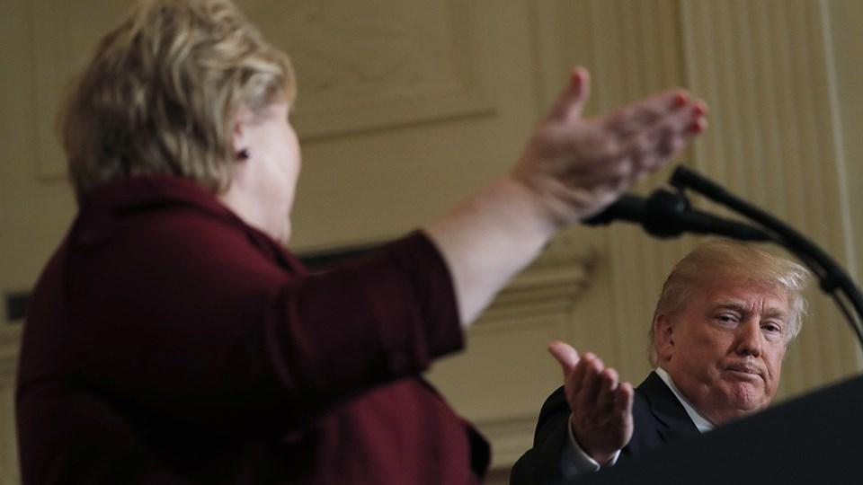 Den amerikanske præsident, Donald Trump, og Norges statsminister, Erna Solberg, mødtes onsdag for første gang på tomandshånd i Det Hvide Hus. Foto: Reuters/Carlos Barria