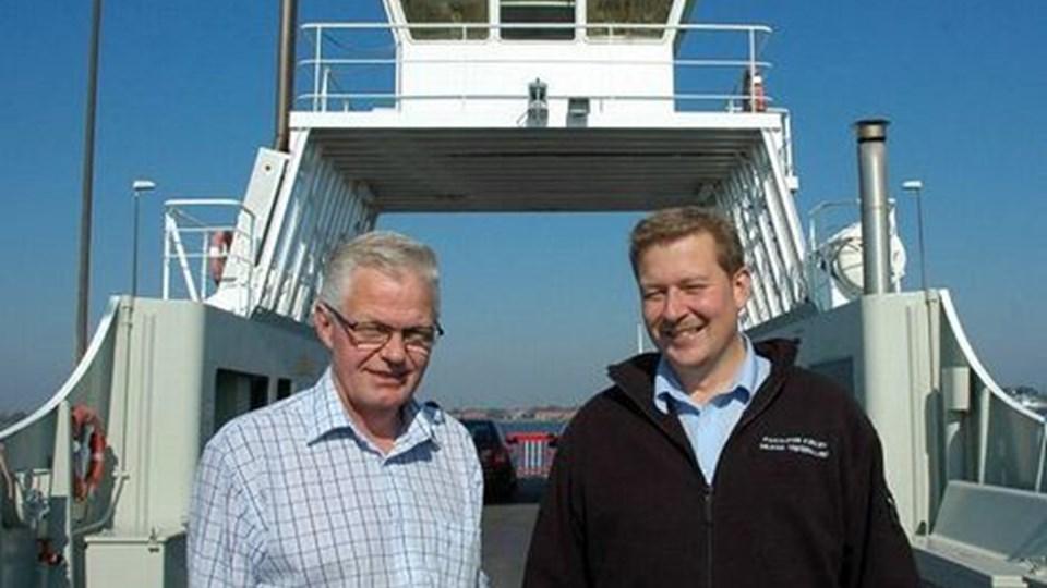 Overfartsleder Michael Vestergaard med den sidste kommunale formand for Hals-Egense færgefart, Eli Bloch. Foto: Bent Bundgaard