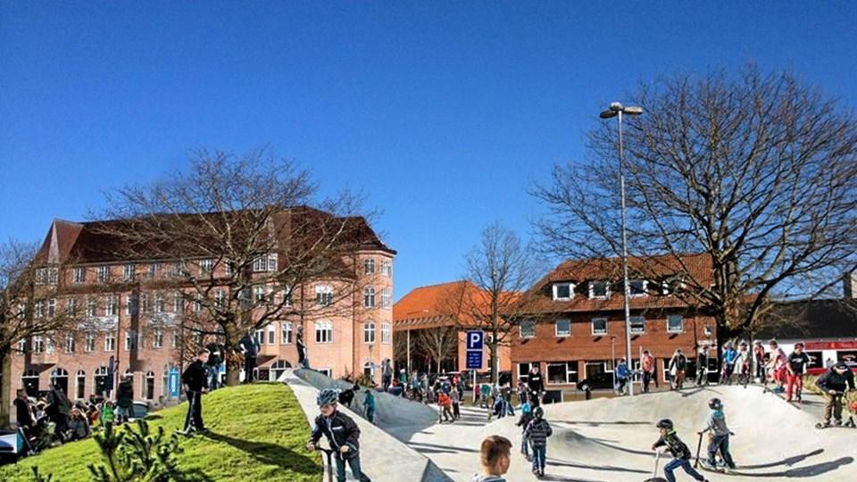 Kommunen efterlyser idéer, tanker og input fra borgerne omkring fremtiden for Banegårdspladsen i Brønderslev. Visualisering: Brønderslev Kommune